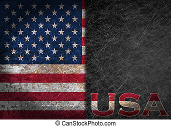 Old rusty metal sign with a flag and country abbreviation -...