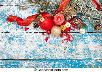 Winter decoration Composition on wood background