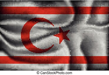 crumpled flag of Turkish Republic of Northern Cyprus on a...