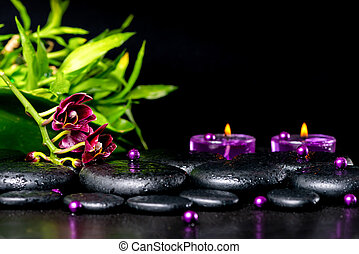 beautiful spa setting of zen basalt stones with drops, lilac...