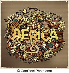 Africa hand lettering and doodles elements background Vector...