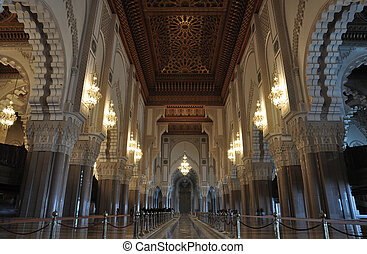 Inside of the Hassan II Mosque in Casablanca, Morocco