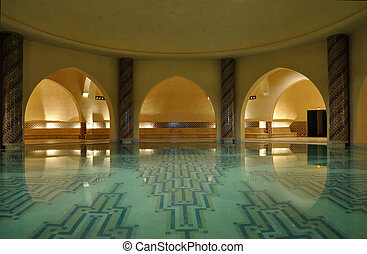Inside of a traditional Hammam in Morocco, Africa
