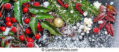 Christmas card of evergreen branches, red leaves, berry with...