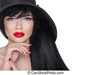 Makeup. Long hair. Fashion Brunette Woman Portrait in black hat