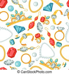 Seamless pattern with beautiful jewelry