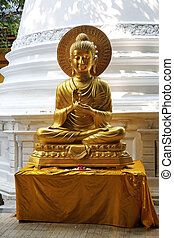 Gangaramaya Temple Colombo - buddha statue of the...