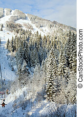 winter ski ropeway - winter calm mountain landscape with...