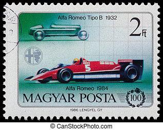 Stamp printed in Hungary shows Alfa Romeo