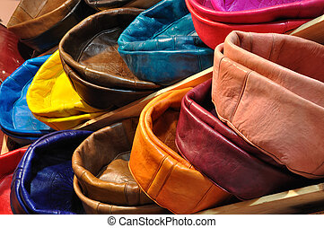 Colorful leather cushions for sale in Marrakech, Morocco
