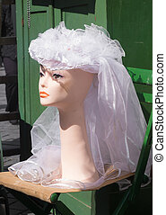 bridal veil on a mannequin head