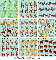 Set of 9 seamless pattern with funny farm animals on  blue background. vector