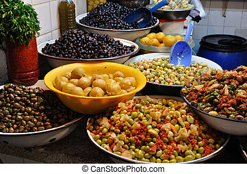 Olive Stall in the Medina of Fes, Morocco