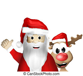 Christmas Santa Claus and Reindeer together