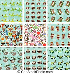 Set of 9 seamless pattern with funny animals on blue...