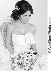 Bride. Beautiful girl wearing in modern wedding dress. Fashion m
