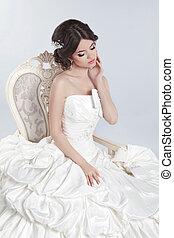 Bride. Beautiful brunette woman wearing in modern wedding...