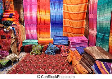 coloridos, tecidos, venda, Fes, Marrocos