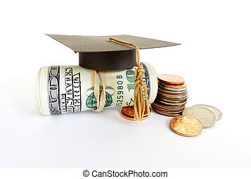 graduation cash and coins - Mini graduation mortar board on...