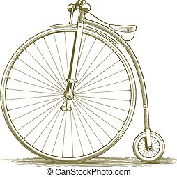 Woodcut Vintage Bicycle Drawing - Woodcut-style illustration...