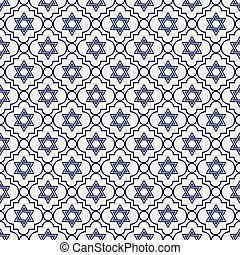 Navy Blue and White Star of David Repeat Pattern Background...