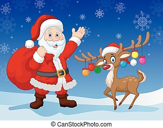 Cartoon Santa clause with deer - Vector illustration of...