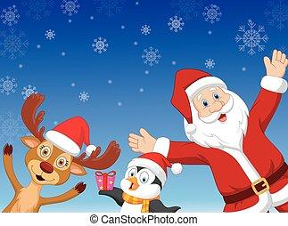 Happy cartoon Santa, penguin and de - Vector illustration of...