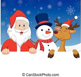 Cartoon Santa Claus, nosed reindeer