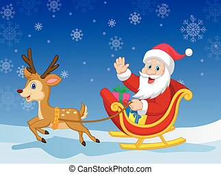 Cartoon Santa in his Christmas sled - Vector illustration of...