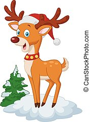 Sweet Christmas deer cartoon - Vector illustration of Sweet...