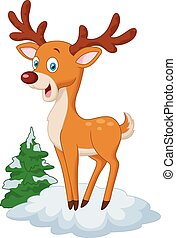 Cute cartoon deer - Vector illustration of Cute cartoon deer