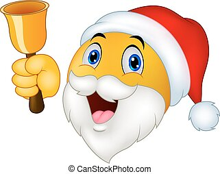 Cartoon Smiley Clause with bell - Vector illustration of...