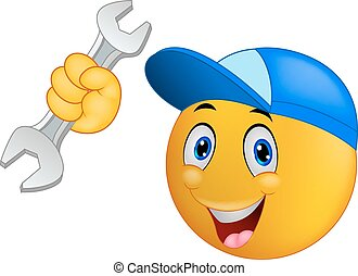 Repairman emoticon smiley cartoon - Vector illustration of...