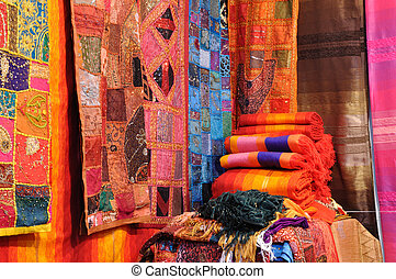 Traditional oriental fabrics in Fes, Morocco
