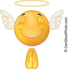 Angel emoticon cartoon - Vector illustration of Angel...