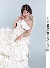 Beauty Portrait of bride wearing in wedding dress with...