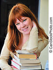 clever redheaded girl - clever and beautiful redheaded girl...
