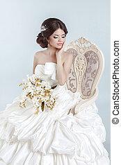 Beautiful bride model girl wearing in wedding dress with...
