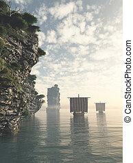Viking Longships in Unknown Waters - Viking longships...