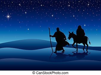 Journey to Bethlehem - Silhouette illustration of Mary and...