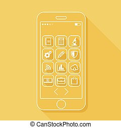 Illustration with a mobile phone. flat icons for web and mobile applications with technology and business signs (flat design with long shadows)