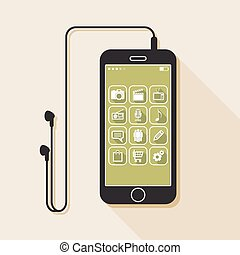 Illustration with a mobile phone. flat icons for web and mobile applications with media and business signs (flat design with long shadows)