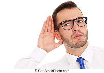 Happy businessman listening to something - A picture of a...