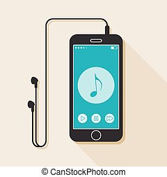 Illustration with a mobile phone. device in flat style with a musical player interface, headphones and a long shadow
