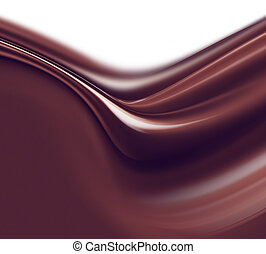 liquid chocolate - wave of liquid chocolate on white...