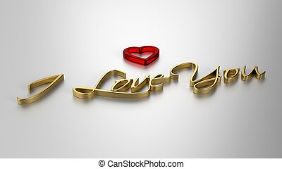 I Love You - 3D template on light background
