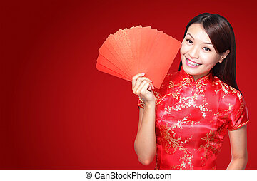 happy chinese new year smile asian woman holding red...