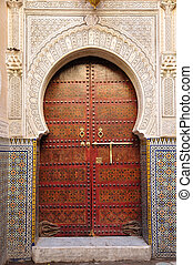 Decorated door in the medina of Fes, Morocco
