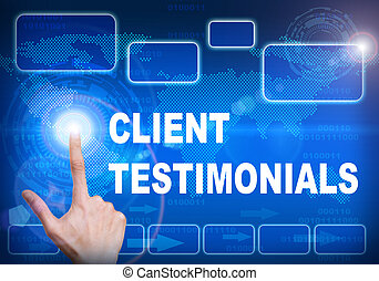 Touch screen digital interface of client testimonials...