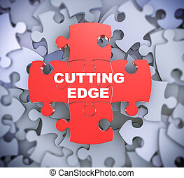 3d puzzle pieces - cutting edge - 3d illustration of...